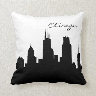 Schwarzweiss-Chicago-Skyline Kissen