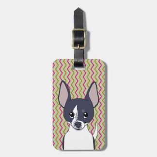 Schwarzweiss-Chihuahua-Rosa-grünes Gold Zickzack Kofferanhänger