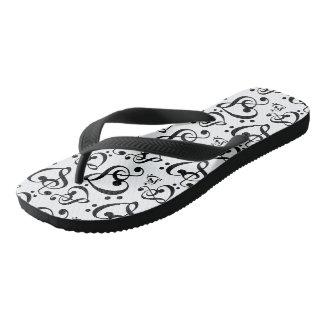 Schwarzweiss-Clef-Herz-Musiknoten-Schuhe Flip Flops