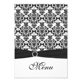 Schwarzweiss-Damast-Hochzeits-Menü-Karte 12,7 X 17,8 Cm Einladungskarte