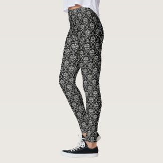 Schwarzweiss-Damast Leggings