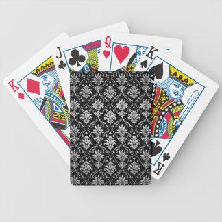 Schwarzweiss-Damast Pokerkarten