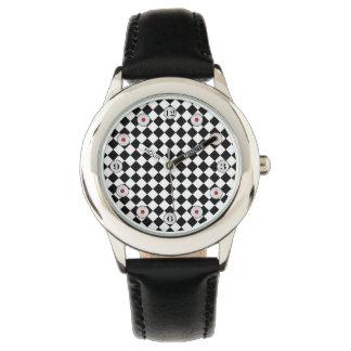 Schwarzweiss-Diamant-Muster durch Shirley Taylor Uhr