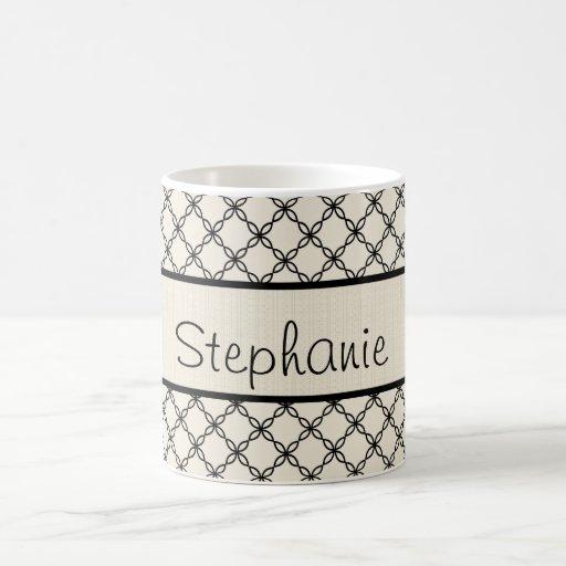 Schwarzweiss-Diamant-personalisierte Kaffee-Tasse