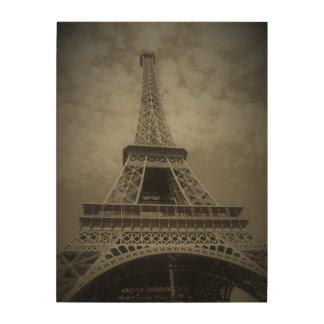 Schwarzweiss-Eiffel-Turm auf Leinwand Holzwanddeko