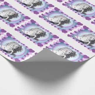 Schwarzweiss-Einhörner mit Herzen Geschenkpapier