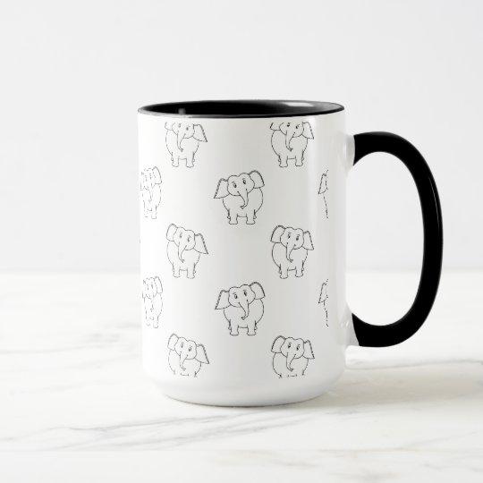 Schwarzweiss-Elefant-Muster Tasse