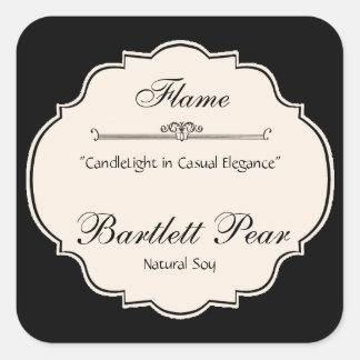 Schwarzweiss-Eleganz-Kerzen-Aufkleber Quadratischer Aufkleber