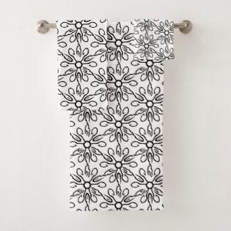 Schwarzweiss-Fisch-und Haken-Muster Badhandtuch Set