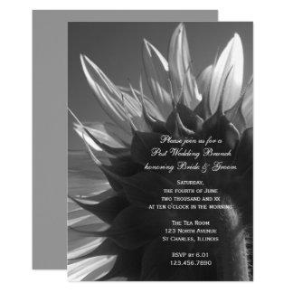 Schwarzweiss-Garten-Sonnenblume-Hochzeits-Brunch Karte