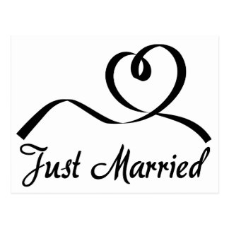 Schwarzweiss-gerade verheiratete Herz-Hochzeit Postkarte