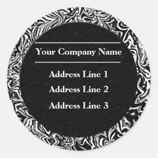 Schwarzweiss-Geschäftsadresse-Aufkleber Runder Aufkleber