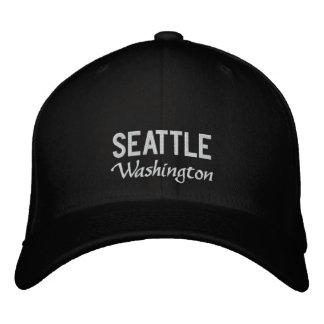 Schwarzweiss-gestickter Hut Seattles Washington Baseballmütze