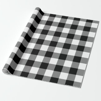 Schwarzweiss-Gingham-Muster Geschenkpapier