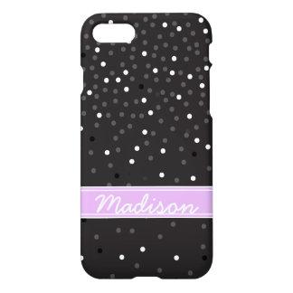 Schwarzweiss-Glitterconfetti-Polka-Punkte Girly iPhone 8/7 Hülle