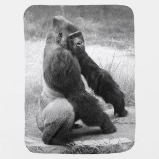 Schwarzweiss-Gorilla-Baby-Decken-Dschungel-Tier Kinderwagendecke
