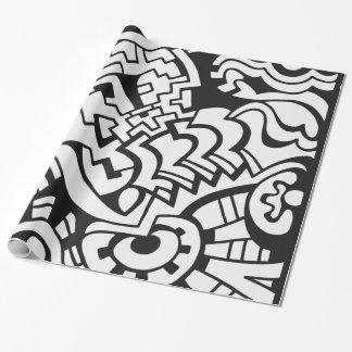 Schwarzweiss-Graffitistraßenkunst Geschenkpapier