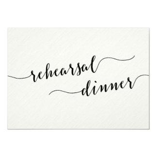 Schwarzweiss-Hochzeits-Proben-Abendessen lädt ein Karte