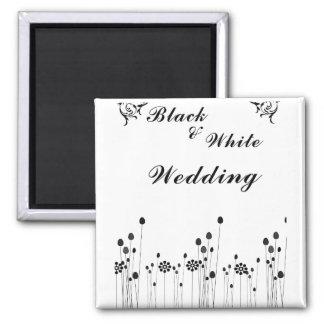 Schwarzweiss-Hochzeitseinladung Magnets