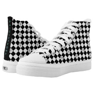 Schwarzweiss-hohe Spitzen Paisleys Hoch-geschnittene Sneaker