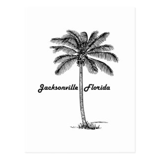Schwarzweiss-Jacksonville- u. Palmenentwurf Postkarte