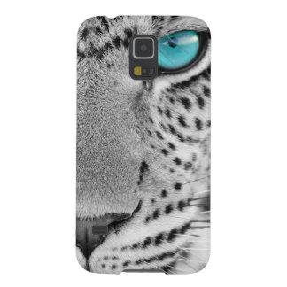 Schwarzweiss-Jaguar mit blauem Auge Samsung Galaxy S5 Hüllen