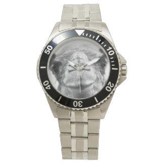 Schwarzweiss-Kamel küsst das Foto-Armbanduhr der Handuhr