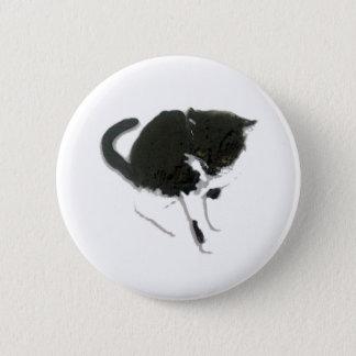 Schwarzweiss-Katzen-Kunst Runder Button 5,7 Cm
