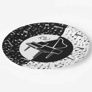 Schwarzweiss-Klavierentwurf Pappteller 22,9 Cm