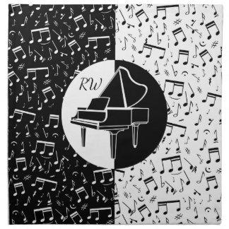 Schwarzweiss-Klavierentwurf Stoff Servietten
