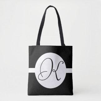 Schwarzweiss-Kreis-Monogramm Tasche