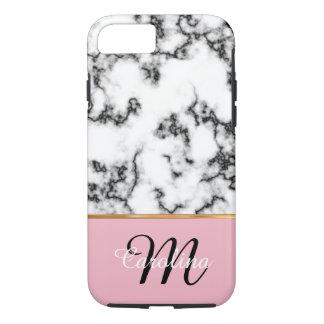 Schwarzweiss-Marmor, Rosa, Name und Monogramm iPhone 7 Hülle