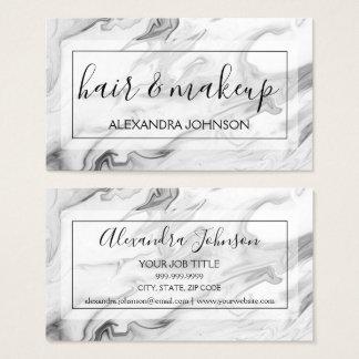 Schwarzweiss-Marmorhaar und Make-up Visitenkarte