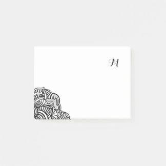 Schwarzweiss-Medaillon-Monogramm Post-it Klebezettel