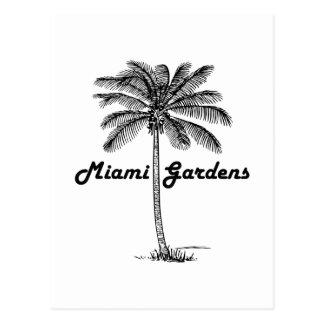 Schwarzweiss-Miamigarten- u. -palmenentwurf Postkarte