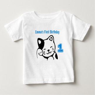 Schwarzweiss-Miezekatze-Katzen-wellenartig Baby T-shirt