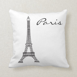 Schwarzweiss-Paris-Sehenswürdigkeit Kissen