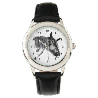 Schwarzweiss-Pferd Uhr