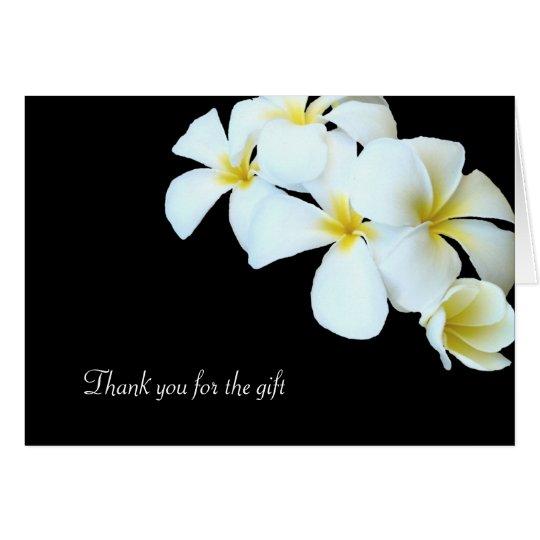 Schwarzweiss-Plumeria-Blumen danken Ihnen zu Mitteilungskarte