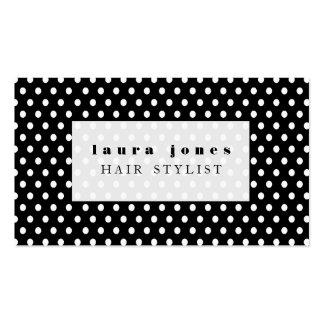 Schwarzweiss-Polka-Punkt-Haar-Stylist-Schablone Visitenkarten