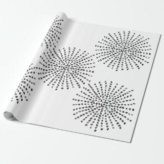 Schwarzweiss-Punkt-Explosions-Muster-Geschenk Geschenkpapier