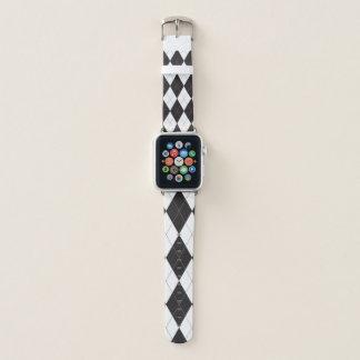 Schwarzweiss-Rauten-Muster Apple Watch Armband