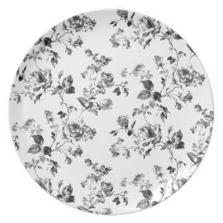 Schwarzweiss-Rosen-Blumenmuster Teller