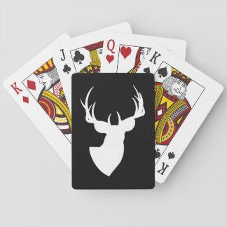 Schwarzweiss-Rotwild-Silhouette Spielkarten
