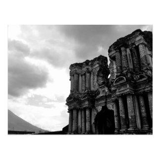 Schwarzweiss-Ruinen von Antigua Guatemala Postkarte