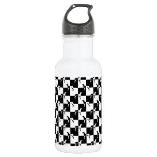 Schwarzweiss-Schachbrett Weimaraner Trinkflasche