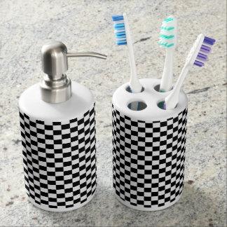 Schwarzweiss-Schachbrettmuster Zahnbürstenbehälter