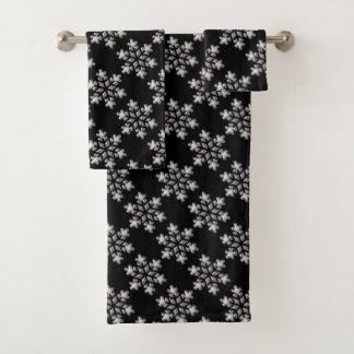 Schwarzweiss-Schneeflocken Badhandtuch Set