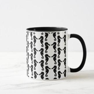 Schwarzweiss-Seepferd-Muster Tasse