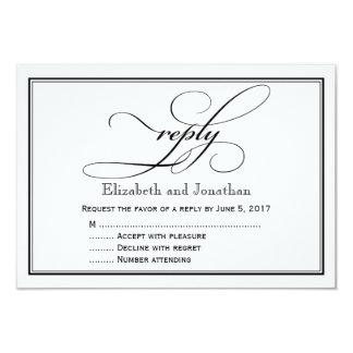 Schwarzweiss-Skript-Hochzeits-Antwort-Karte 8,9 X 12,7 Cm Einladungskarte